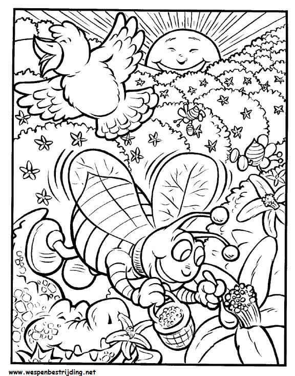 pagina met wespen spellen en kleurplaten voor kinderen